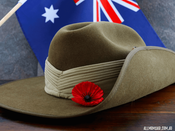 Slouchy hat with poppy flower and Australian flag | Hunter Valley ANZAC Day services