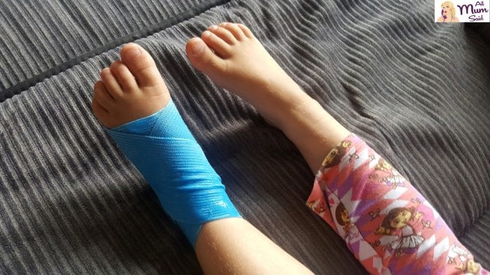 Sore ankle with cool xchange compression bandage