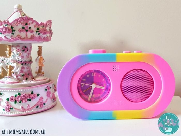 Smiggle record me alarm clock on bedside table