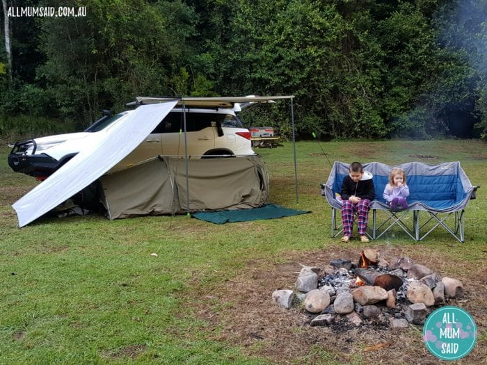 Camping with kids at Chichester State Forest with campfire