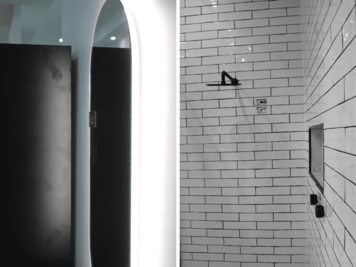 Black and white bathroom - subway tiles and lighted mirror