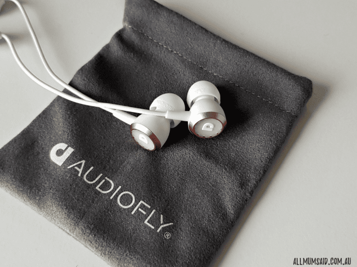 Gold Audiofly AF33W earphones - close up with fabric bag