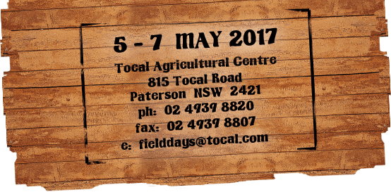 Hunter Valley Tocal field days dates 2017