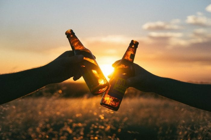 cheers | have a beer with friends | camping with sunset