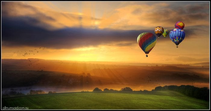 Hunter Valley Hot air balloon flying at sunrise