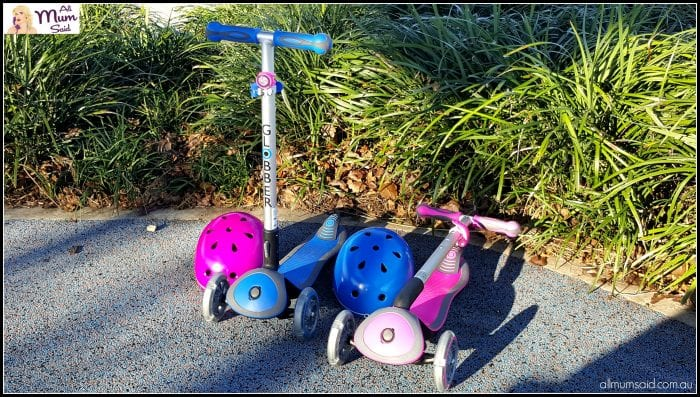 Globber scooters folded up