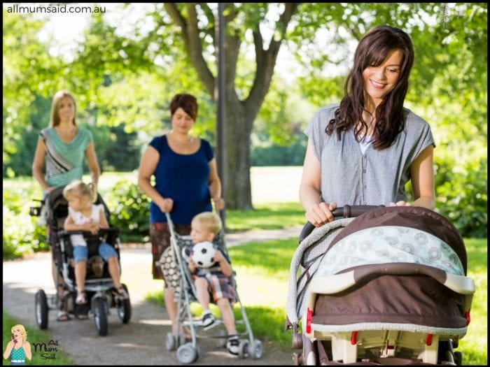 Mother's group walking prams and babies in the park | FREE parenting resources