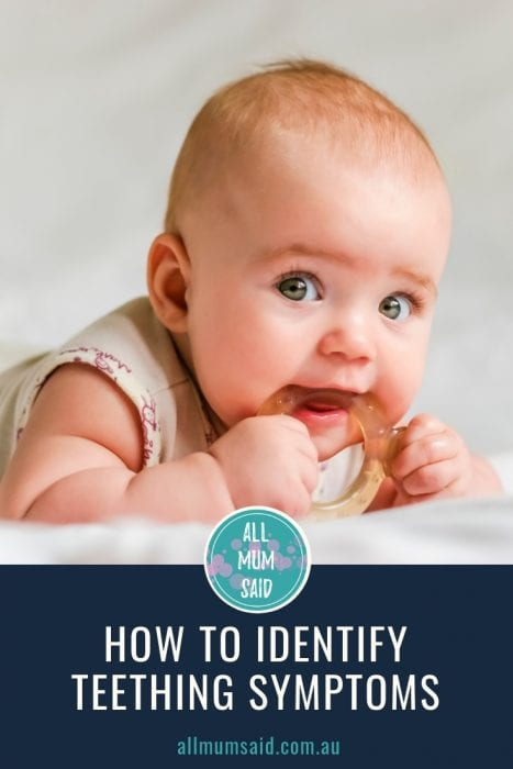 When it comes to teething tots there are a few tell-tale signs that can help you figure out how to help your little one. CLICK HERE to learn how to identify #teething symptoms. #parenting #babies #toddlers #kids