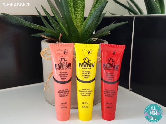 Dr. pawpaw ointment balm trio next to indoor plant