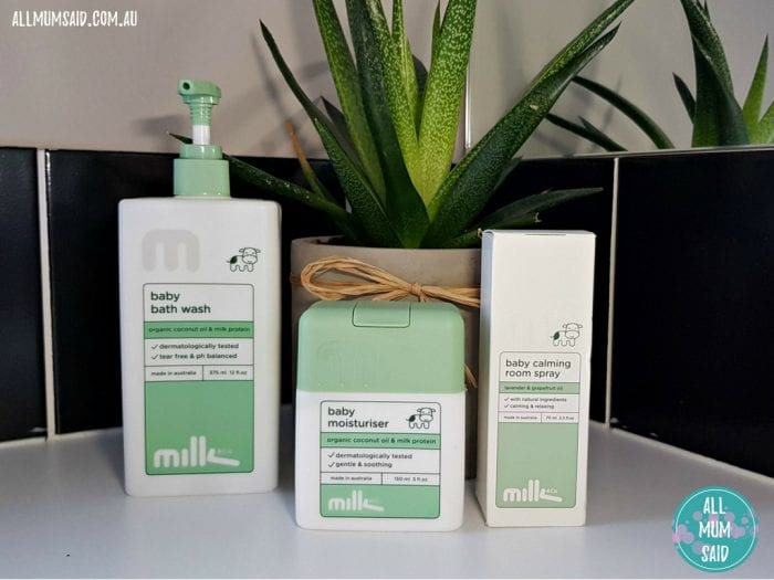 Milk & Co Baby natural skincare in bathroom with plant
