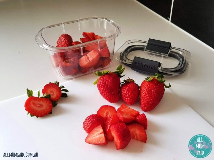 Sistema brilliance containers with chopped strawberries