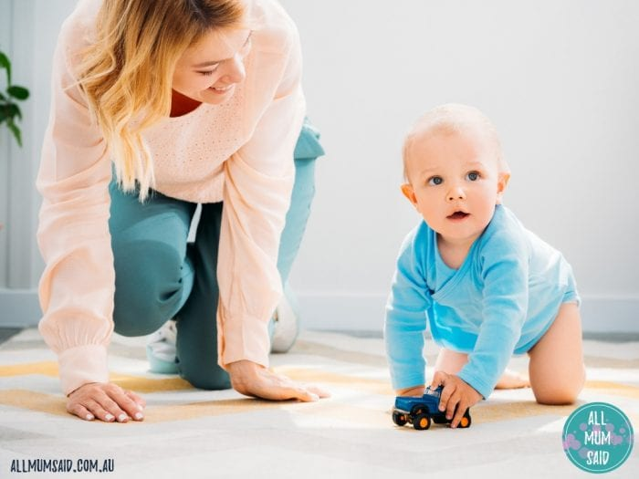 mum crawling on floor with toddler | Tips to Baby Proof Your Home