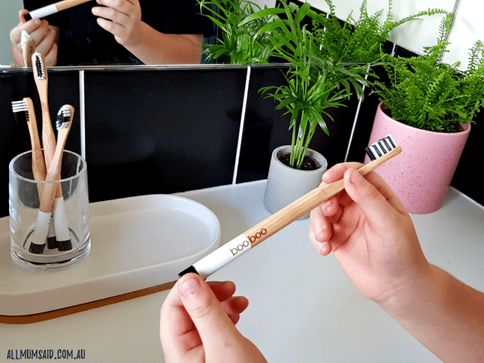 reduce plastic waste - bamboo toothbrush Boo Boo Brush review