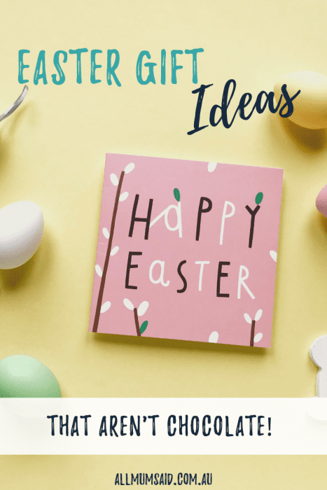 Forget the chocolate overload. Here are some Easter gift ideas that aren't chocolate! #Easter #EasterGiftIdeas #DIYHampers #Health #Allergies