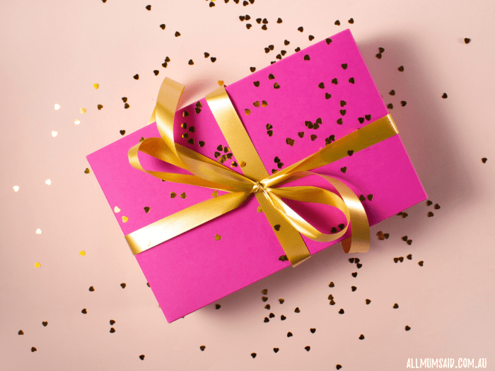 pink and gold wrapped present