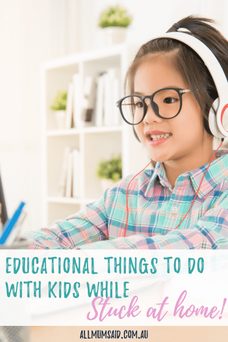 Looking for #educational things to do with the kids while you're stuck at home? CLICK HERE and put these ideas to good use! #education #parenting #homeschool #kids #teach #motherhood